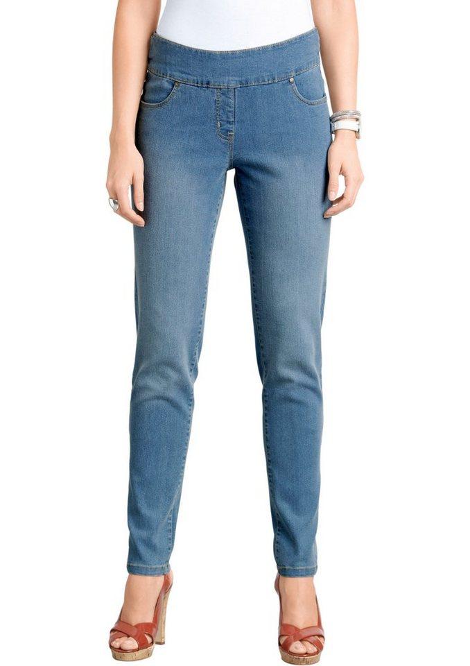 Classic Basics Jeans mit fester Bundpatte vorne in blue-bleached