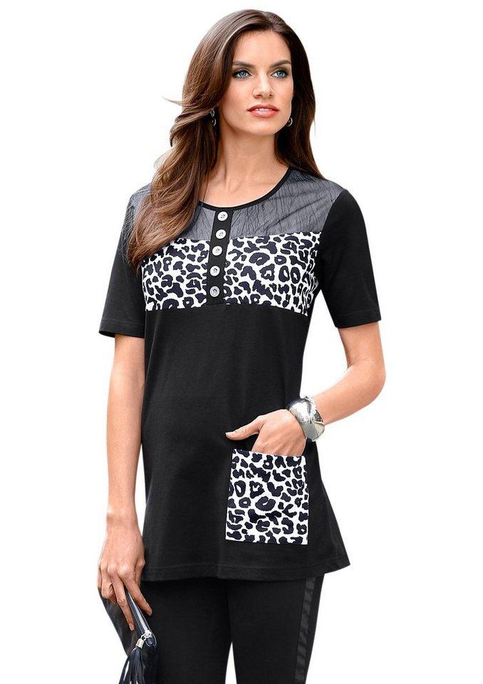 Longshirt in schwarz-weiß
