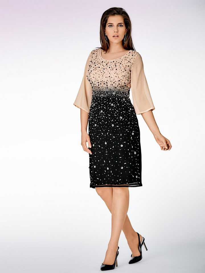 Paillettenkleid in schwarz/rosé