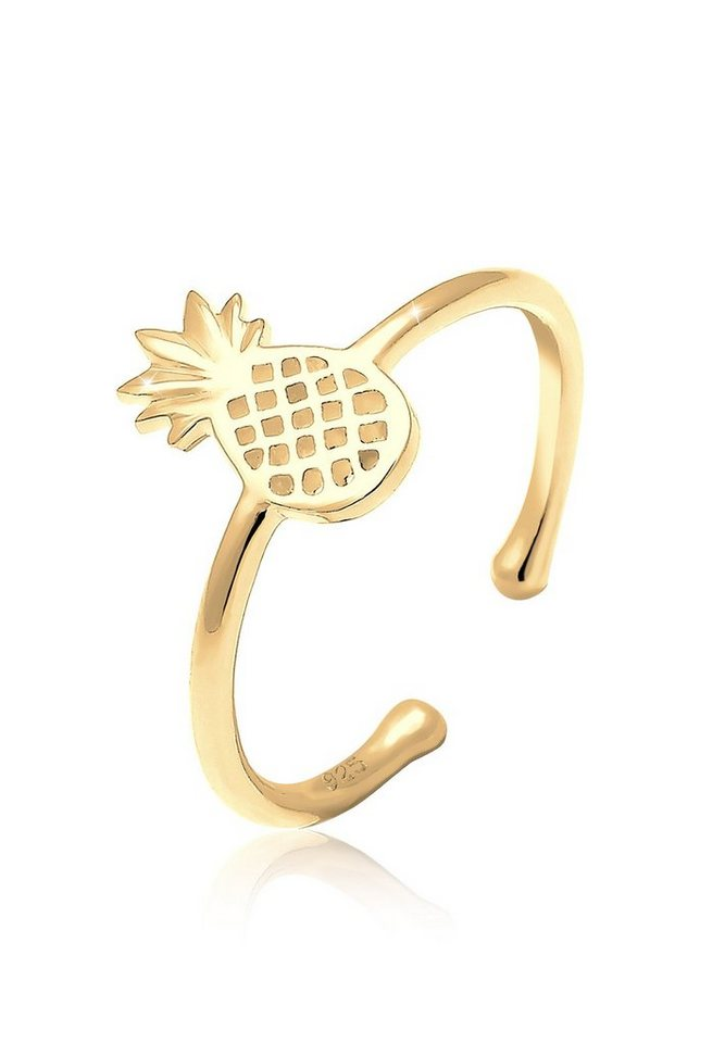 Elli Ring »Ananas Sommer Statement Silber vergoldet« in Gold