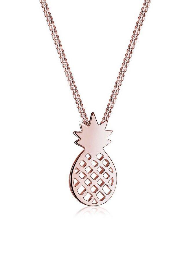Elli Halskette »Ananas Frucht 925 Silber rosé vergoldet« in Rosegold