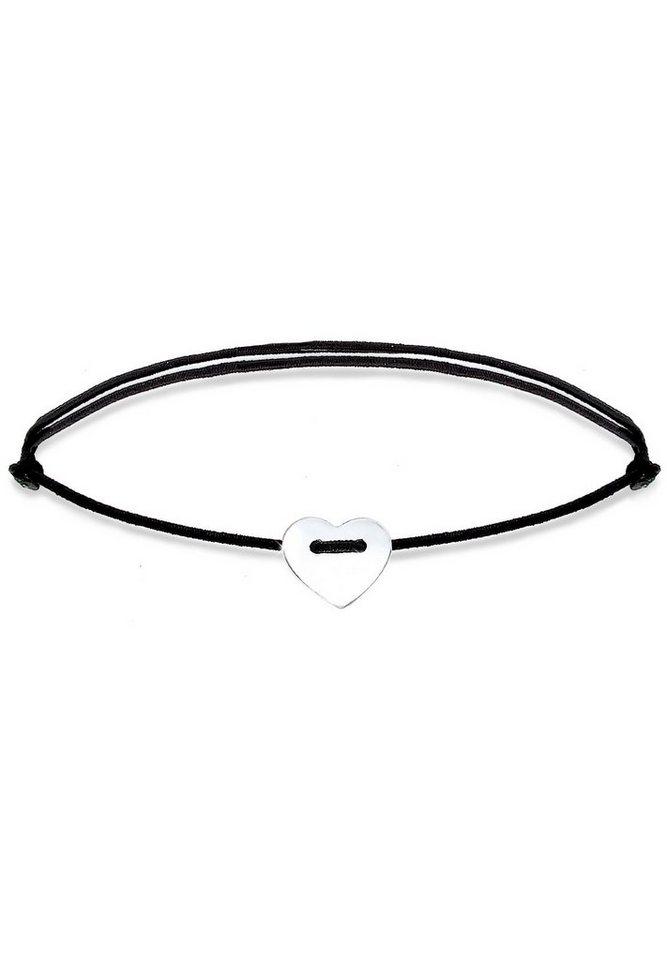 Elli Armband »Herz Silber Textilband« in Schwarz