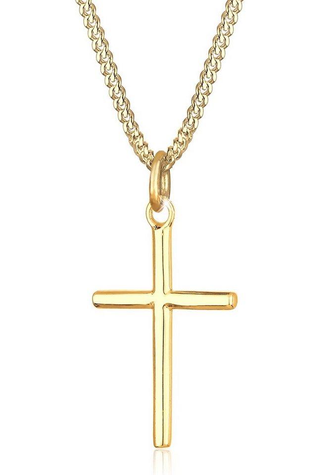 Elli Halskette »Kreuzette Basic 925 Silber vergoldet« in Gold