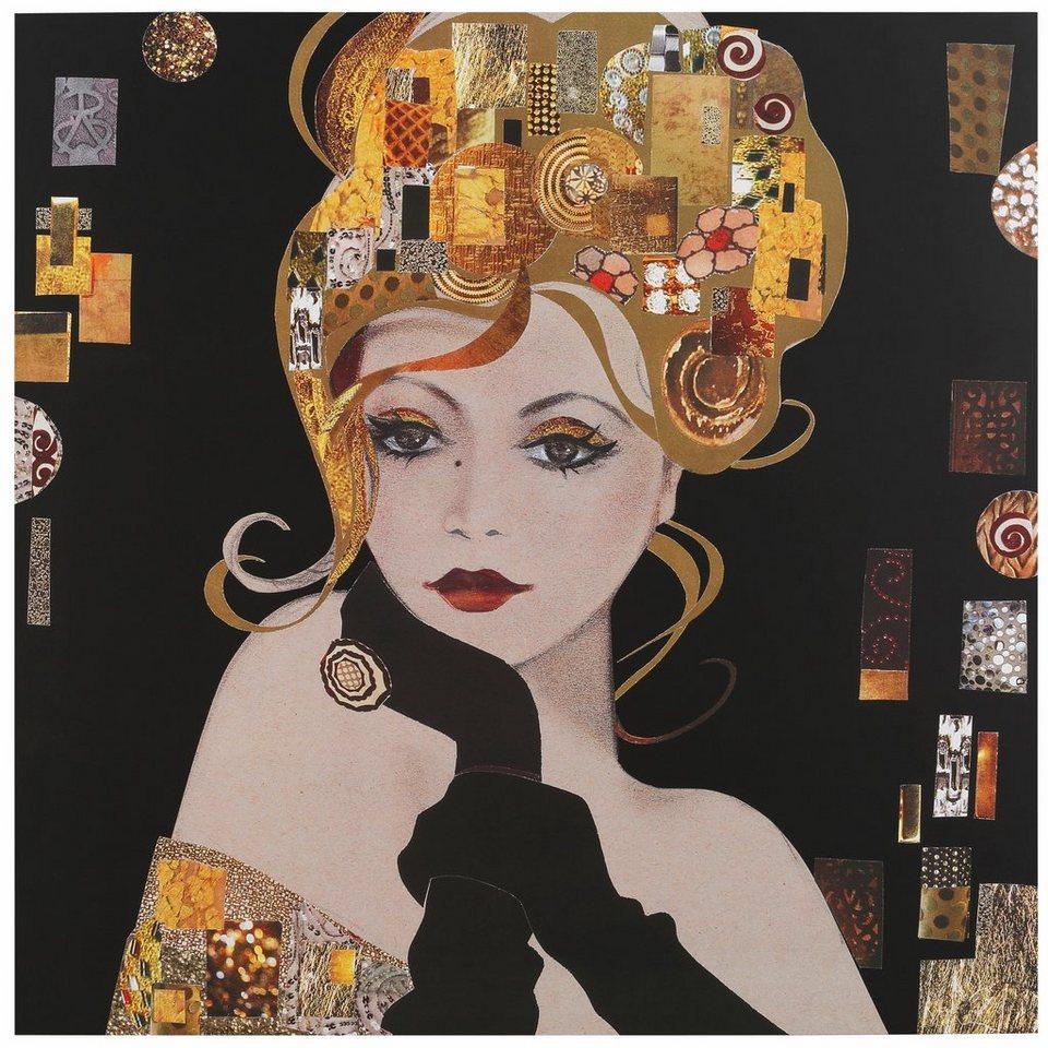 Home affaire, Oversize-Bild »Spirit Blondes Mädchen«, 115/115 cm in schwarz/gold