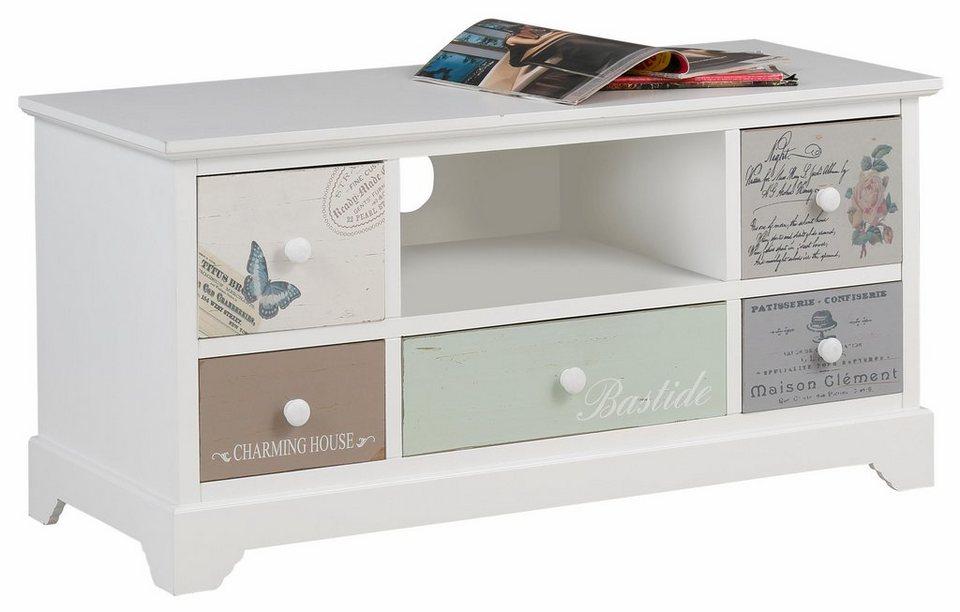 Home affaire, Lowboard »Pastel«, Breite 100 cm in weiß/pastel