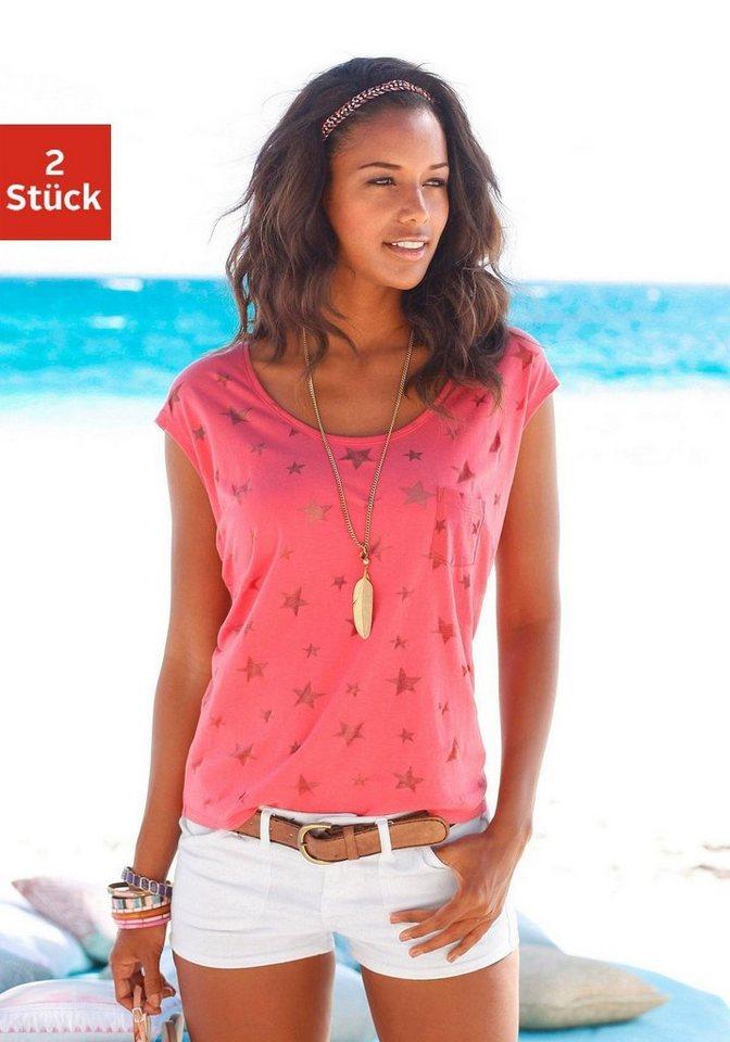 Beachtime T-Shirts (2 Stück) mit transparenten Sternen in koralle + schwarz