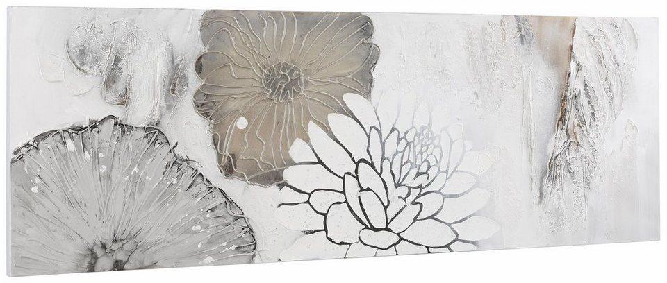 Home affaire Bild, »Blüten Mix«, mit Acrylfarbe auf Leinwand gemalt in weiß