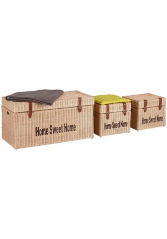 HOME AFFAIRE Suoliukas-dėžė (3er-Set) su Lederschna...