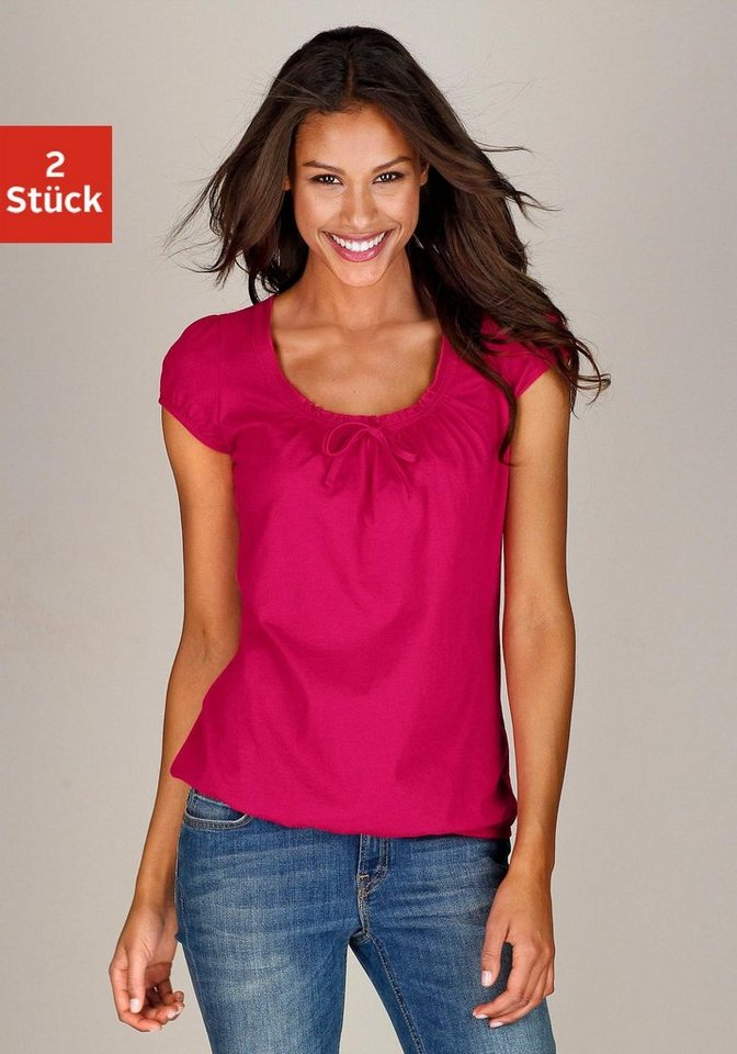 Buffalo Shirts (2 Stück) mit gerafftem Ausschnitt, »Cotton made in Africa« in pink + weiß