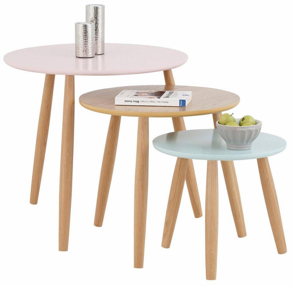 Home »Pastel« affaire Beistelltisch, 3er-Set in bunt/eichefb.