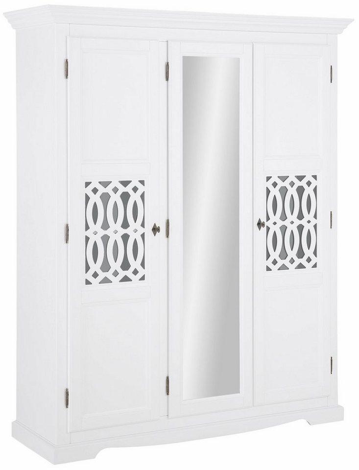 Home affaire Kleiderschrank »Elegant«, mit Spiegel, 3-türig oder 4-türig in weiß
