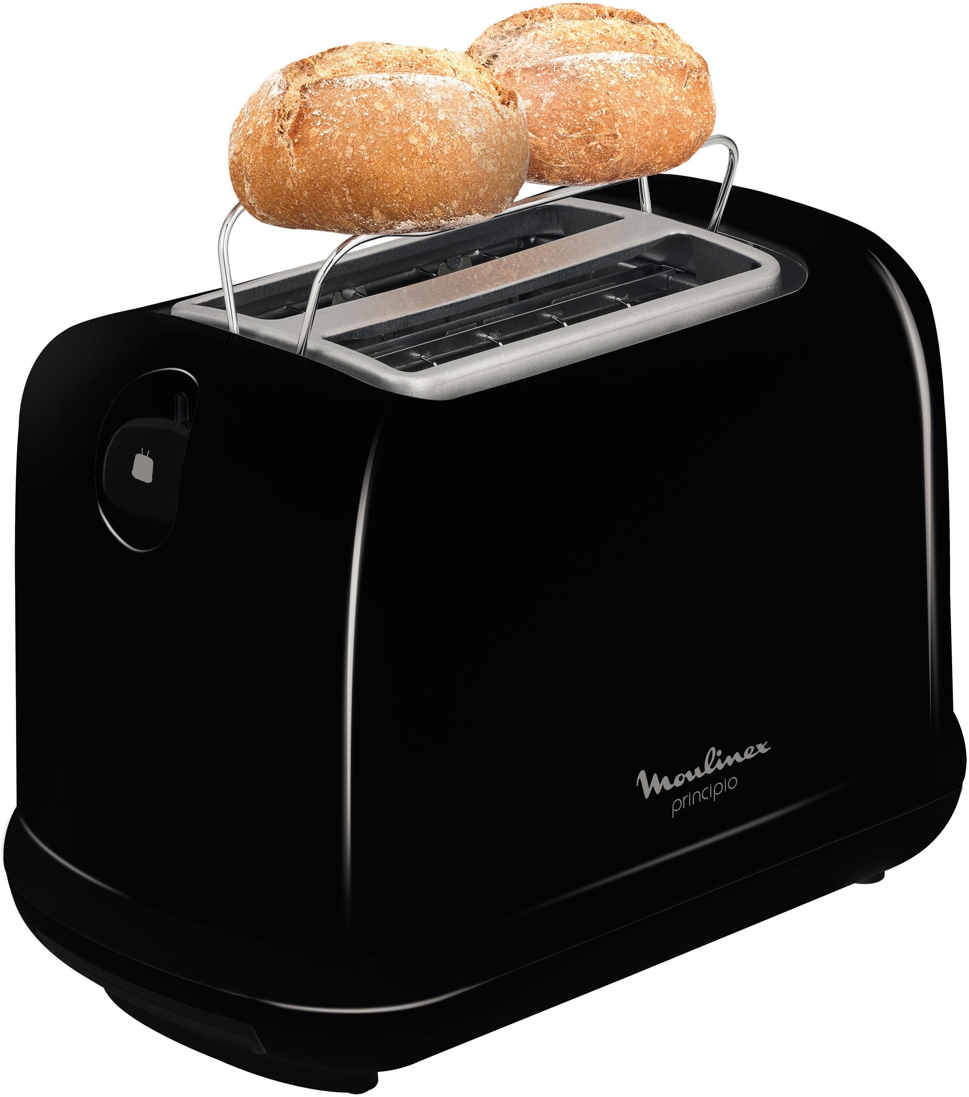 Moulinex Toaster Principio LT1618, für 2 Scheiben, 850 Watt, schwarz