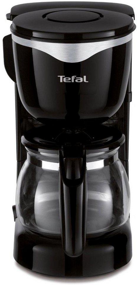 Tefal Glaskannen-Kaffeemaschine Mini CM340811, für 0,6 Liter, Edelstahl-schwarz in edelstahl-schwarz