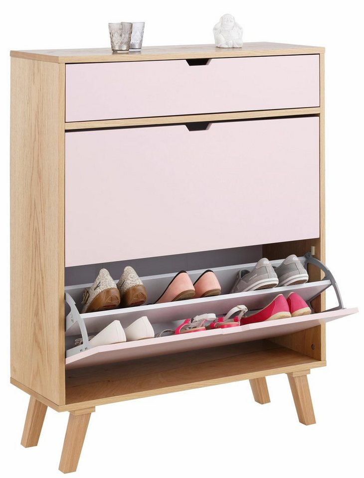 Home affaire Schuhkommode »Pastel« in rosa/eichefb.