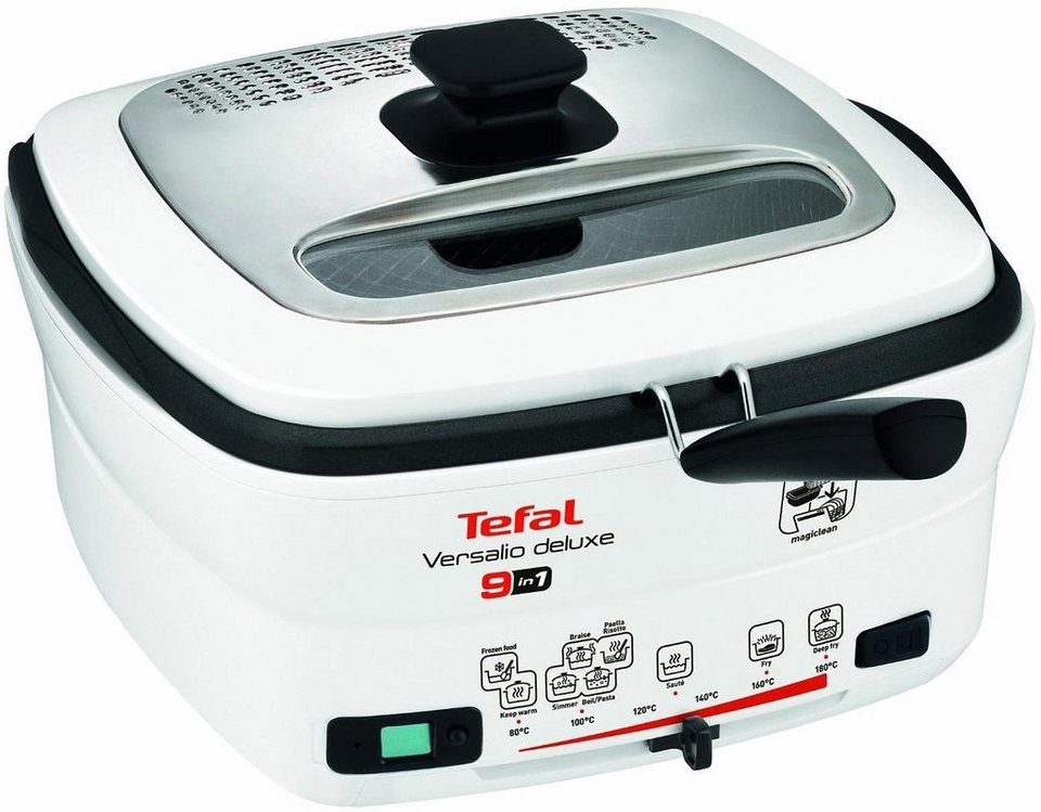 Tefal Multifunktions-Fritteuse Versalio deLuxe FR4950, 1600 Watt, 2 Liter Fettfüllmenge in weiß-schwarz