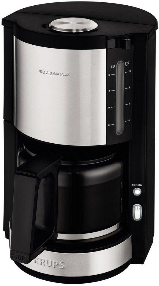 Krups Glaskannen-Kaffeemaschine ProAroma Plus KM321, edelstahl-schwarz in edelstahl-schwarz