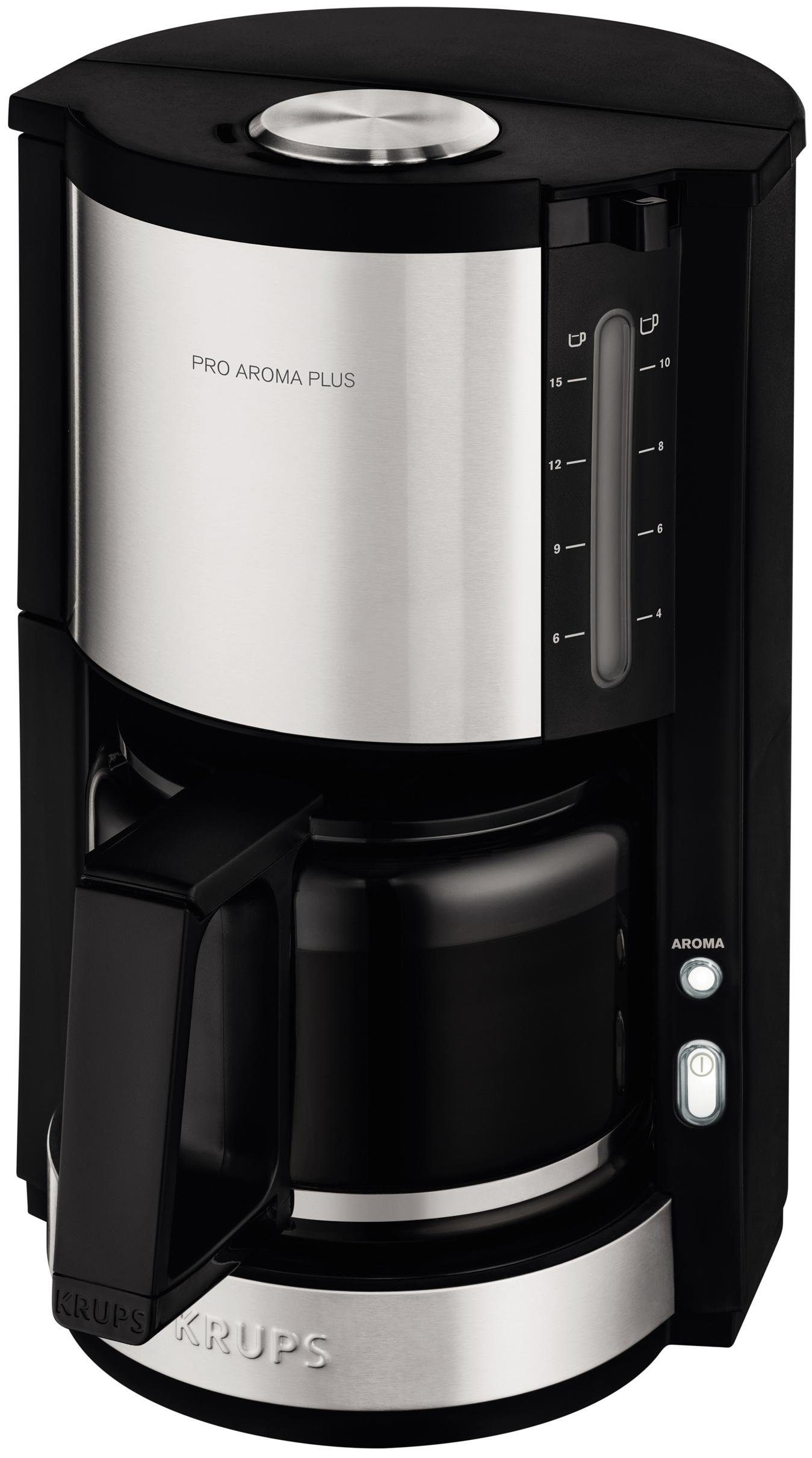 Krups Glaskannen-Kaffeemaschine ProAroma Plus KM321, edelstahl-schwarz