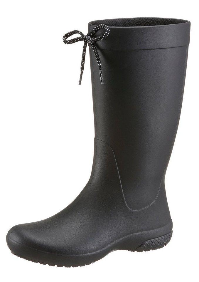 Crocs »Freesail Rain Boot« Gummistiefel mit Zierschleife in schwarz