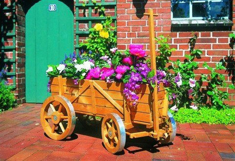 Blumenwagen in braun