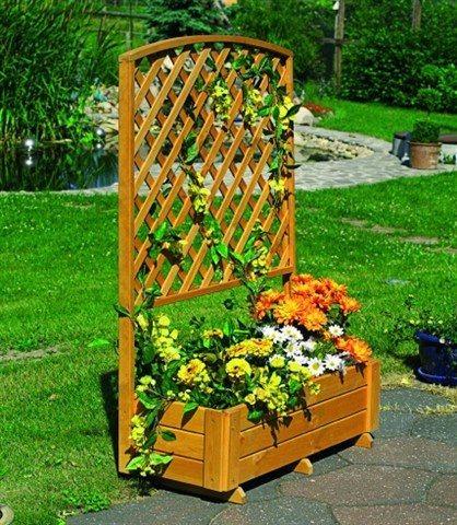 Holzspalier mit Pflanzkasten in 2 Höhen | Garten > Pflanzen > Pflanzkästen | promadino