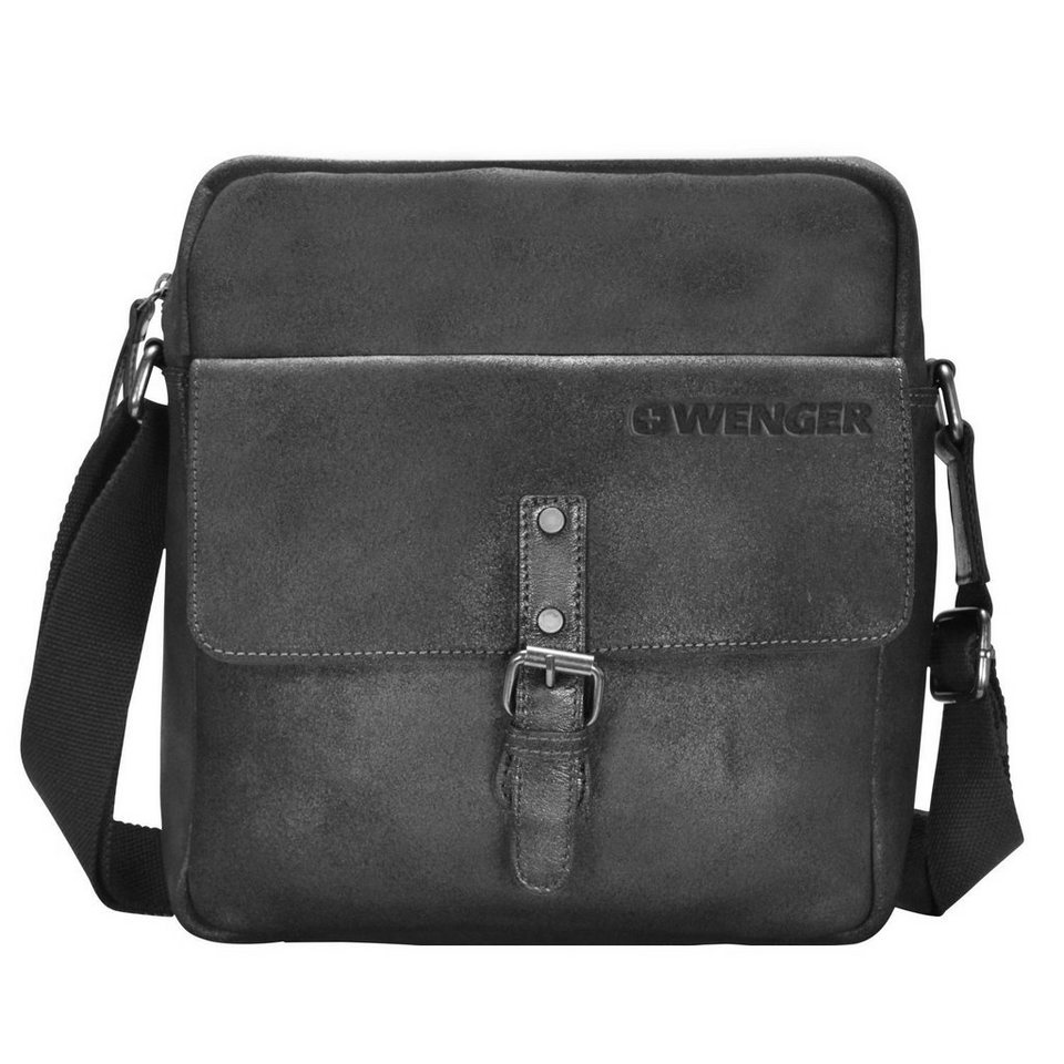 Wenger Foggy Umhängetasche Leder 28 cm Tabletfach in black