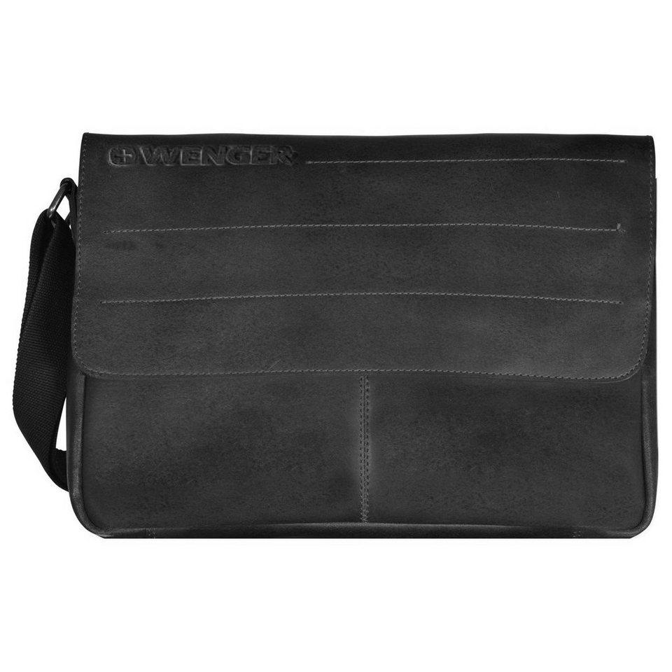 Wenger Street Hunter Messenger Umhängetasche Leder 39 cm Laptopfach in black