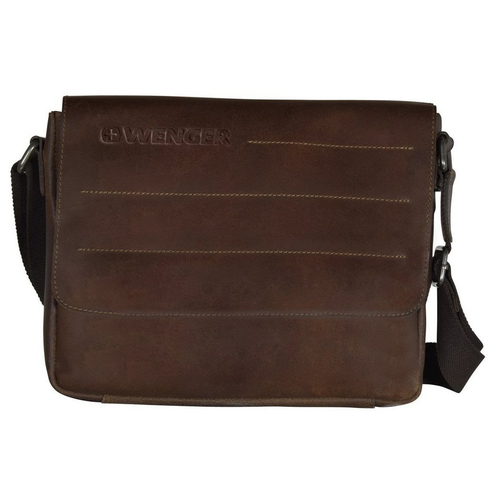Wenger Street Hunter Messenger Umhängetasche Leder 31 cm Laptopfach in brown