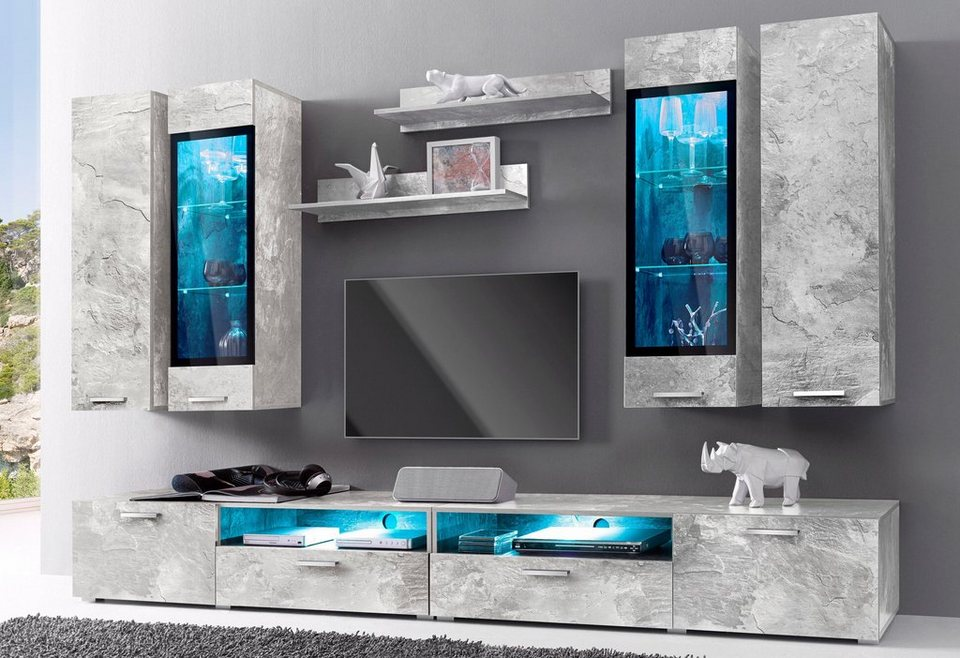 wohnwand 8 tlg bestseller shop f r m bel und. Black Bedroom Furniture Sets. Home Design Ideas