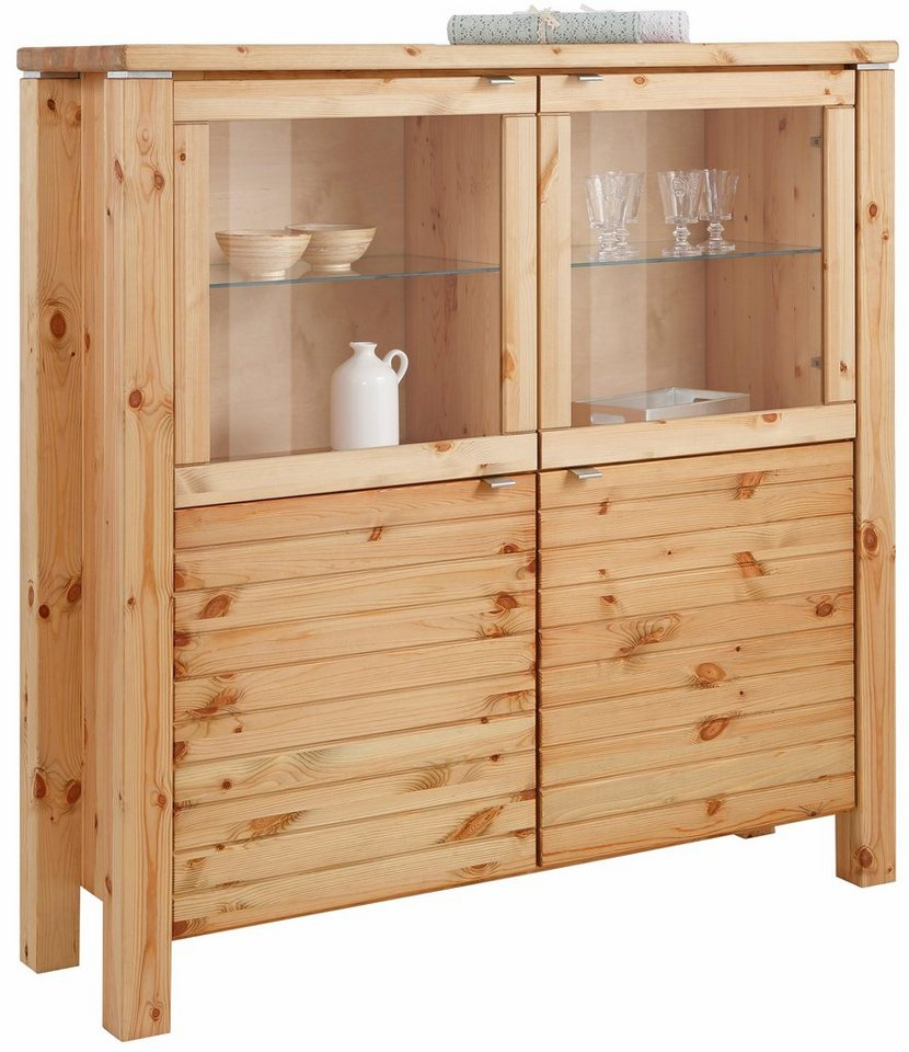 Premium collection by Home affaire Highboard »Cortez«, Breite 145 cm in gelaugt/geölt