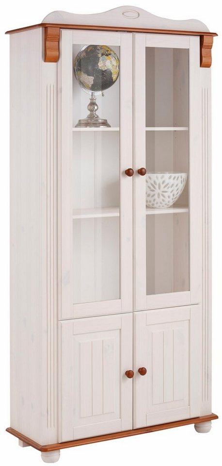 Home affaire Vitrine 4trg. »Adele«, Höhe 185 cm in weiß/kirschbaumfarben