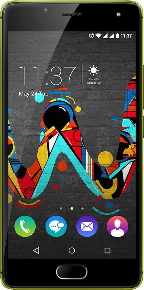 Wiko U Feel Smartphone, 12,7 cm (5 Zoll) Display, LTE (4G), Android 6.0 (Marshmallow) in limone-grau