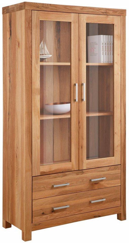 Premium collection by Home affaire Vitrinenschrank »Madeira«, mit 2 Schubladen, Breite 103 cm in Wildeiche geölt