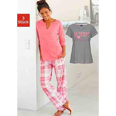 ARIZONA Pyjamaset (3 tlg.) Modernes Design mit karierter Hose