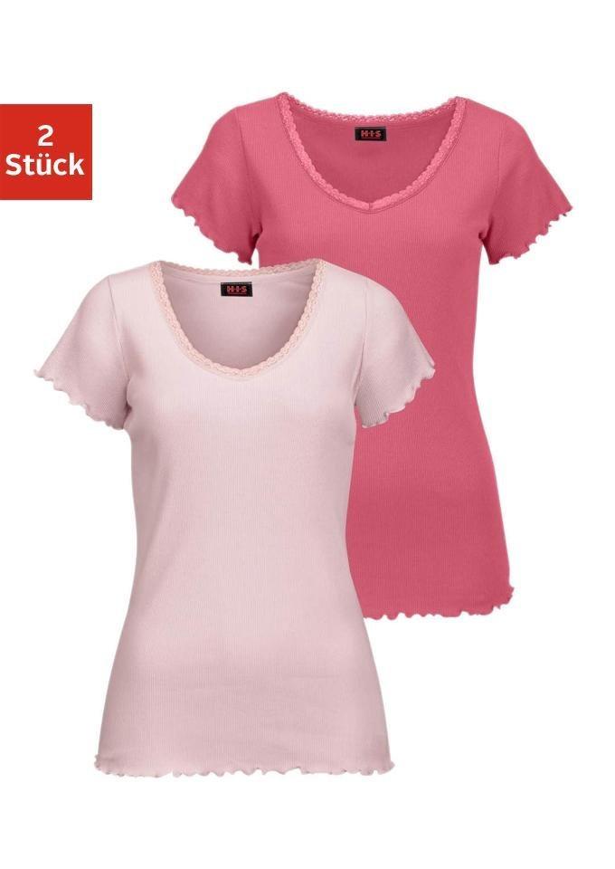 H.I.S Kurzarmshirt »Victoria« aus elastischer Rippqualität in Koralle + rosa