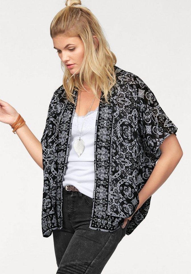 AJC Kimono mit Paisly Druck in schwarz-grau-weiß
