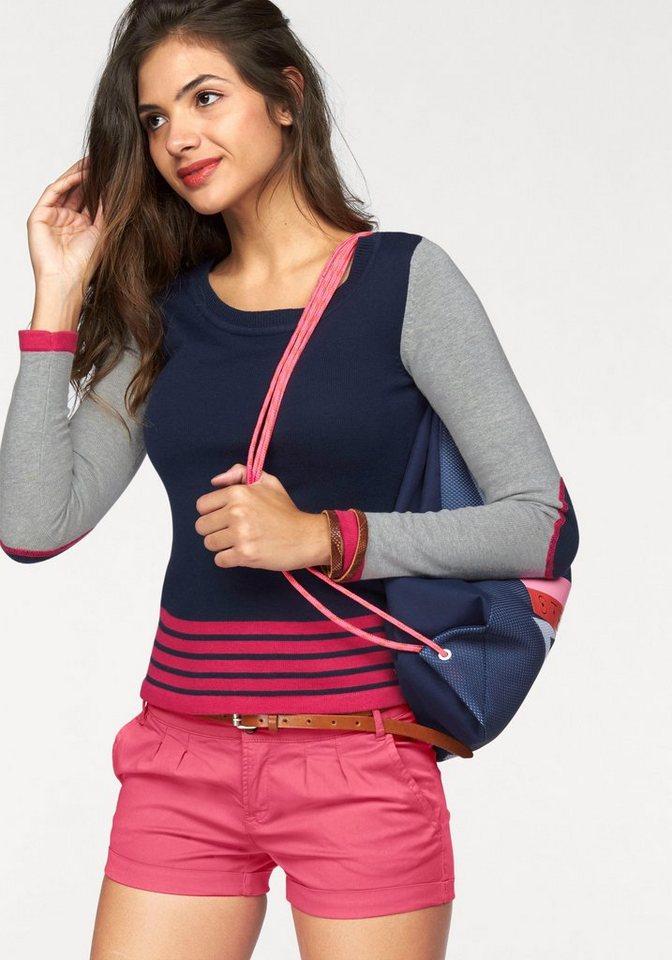AJC Rundhalspullover mit Color Blocking Streifen in marine-grau-pink