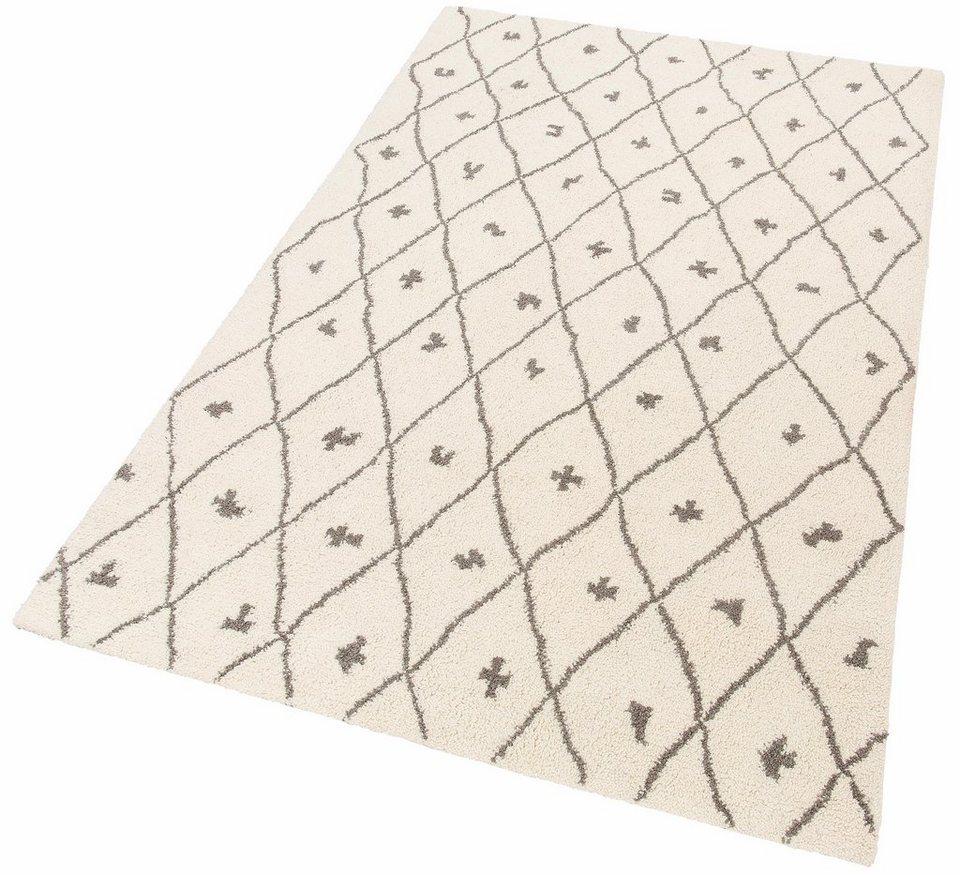 Teppich, Theko Exklusiv, »Moroccan 1«, reine Schurwolle, handgetuftet in creme grau