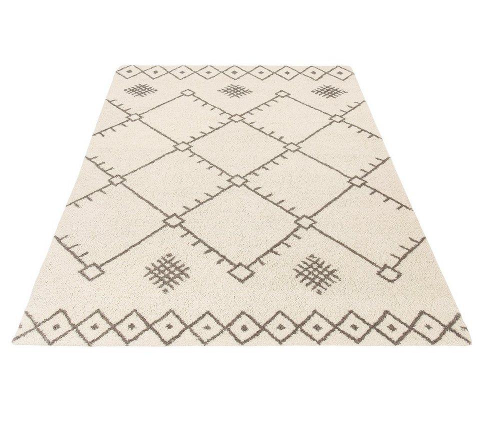 Teppich, Theko exklusiv, »Moroccan 3«, reine Schurwolle, handgetuftet in creme grau