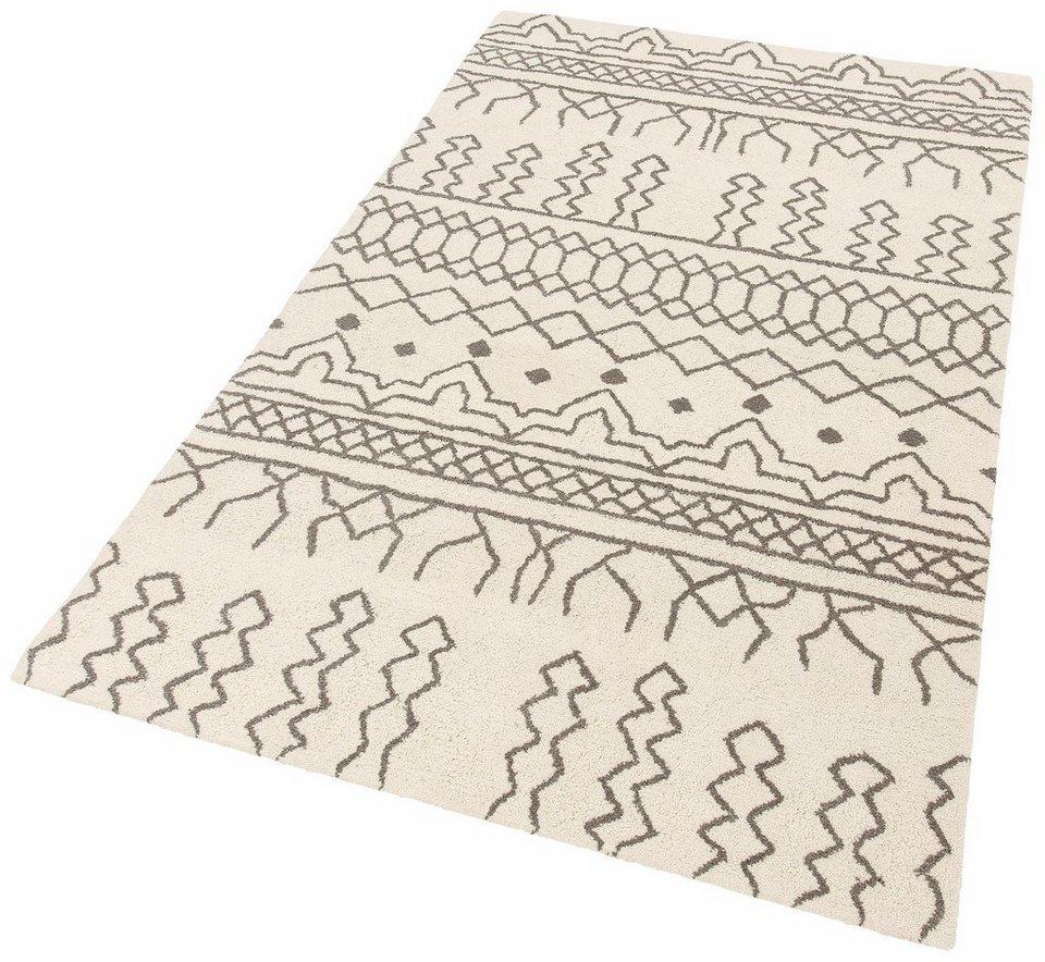 Teppich, Theko exklusiv, »Moroccan 2«, reine Schurwolle, handgetuftet in creme grau