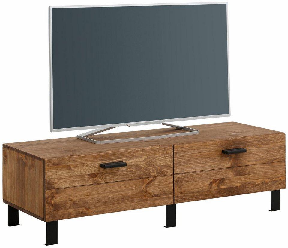Home affaire TV-Lowboard »Brooklin«, Breite 120 cm in gelaugt/geölt