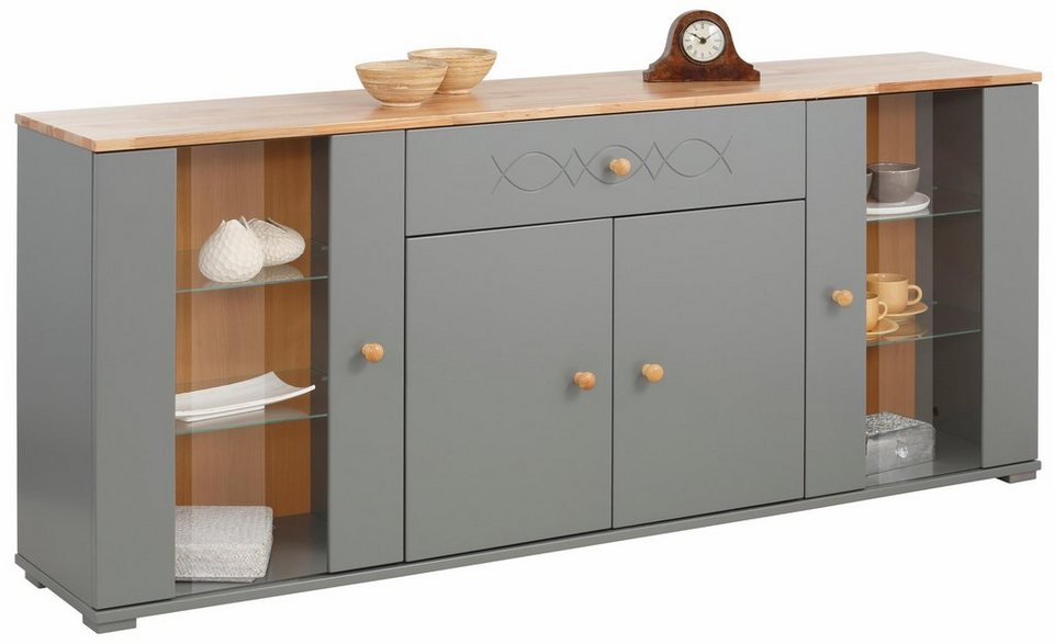 Home affaire Sideboard »Morinville«, Breite 180 cm in grau/kernbuche