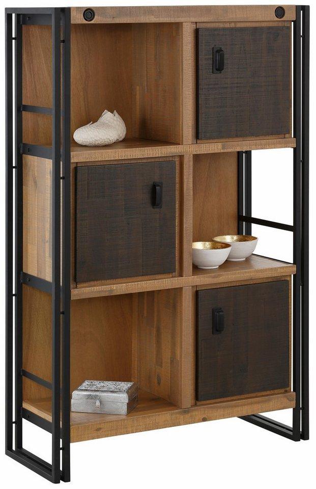Home affaire Regal »Bella«, mit 3 Türen und 3 offenen Fächern in Akazienholz massiv/Metall Gestell