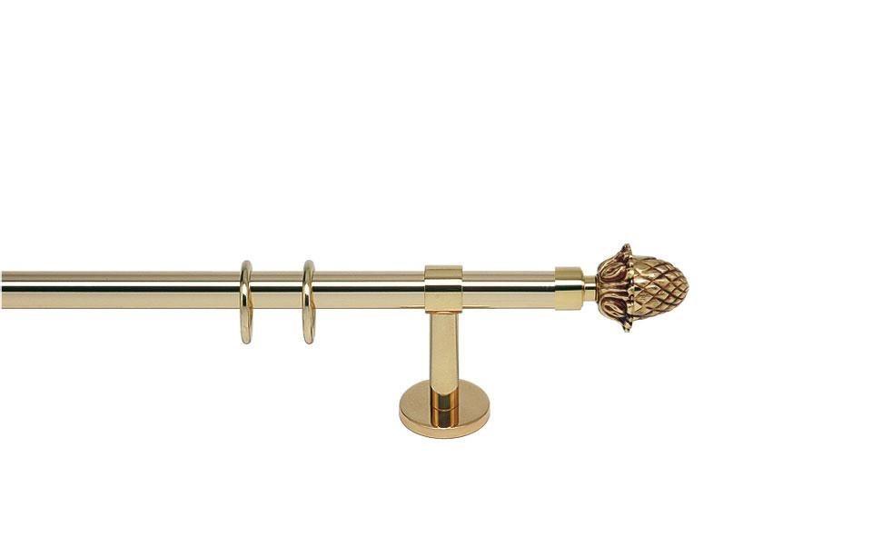 Gardinenstange, indeko, »Rialto«, 1-läufig nach Maß ø 20 mm in messing-glanz