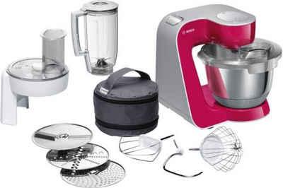 BOSCH Küchenmaschine MUM5 CreationLine MUM58420, 1000 W, 3,9 l Schüssel, vielseitig einsetzbar, Mixer, Durchlaufschnitzler, 3 Reibescheiben, red diamond/silber