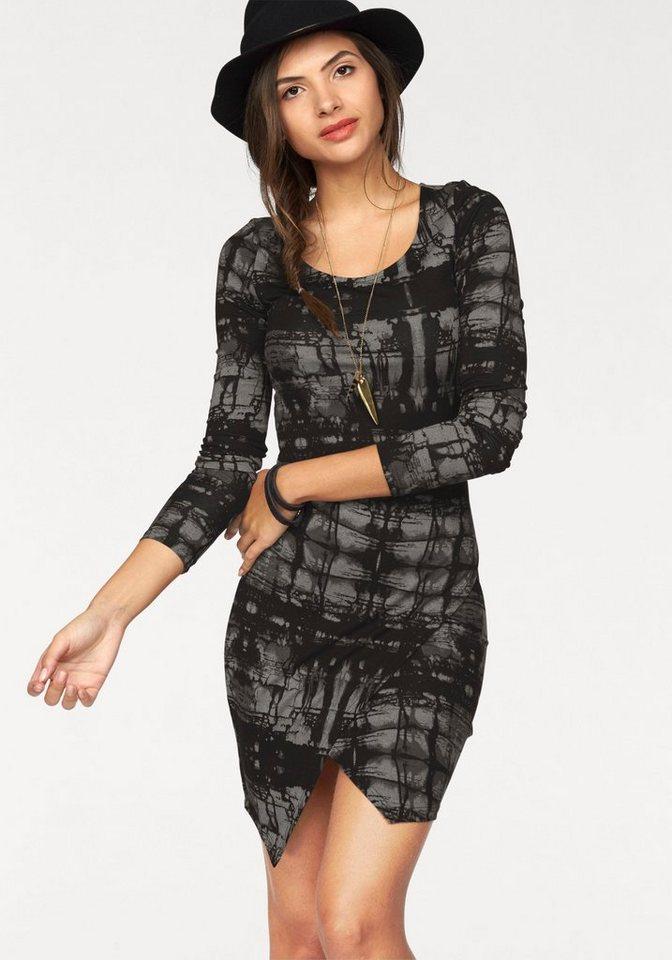 AJC Jerseykleid mit Grafik-Print in schwarz-ecru