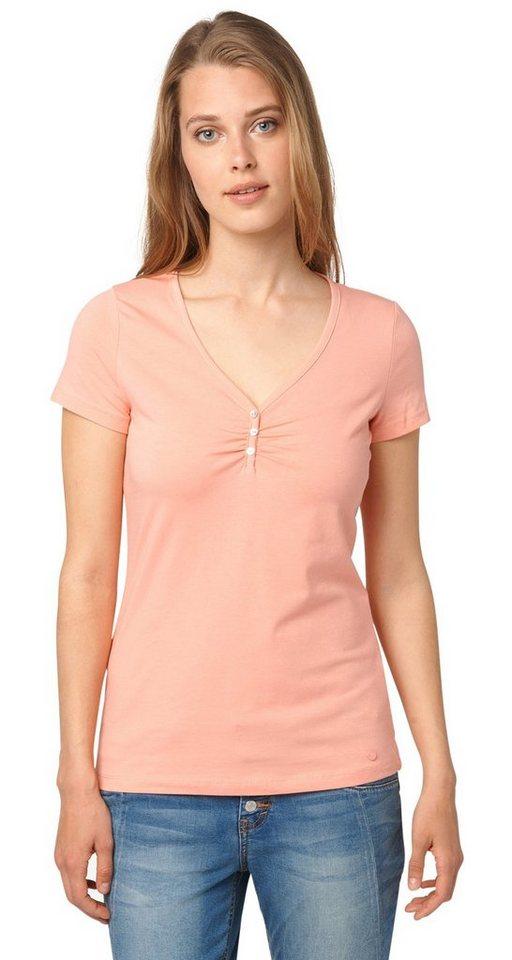 TOM TAILOR T-Shirt »T-Shirt mit Perlmutt-Knöpfen« in dusty salmon red