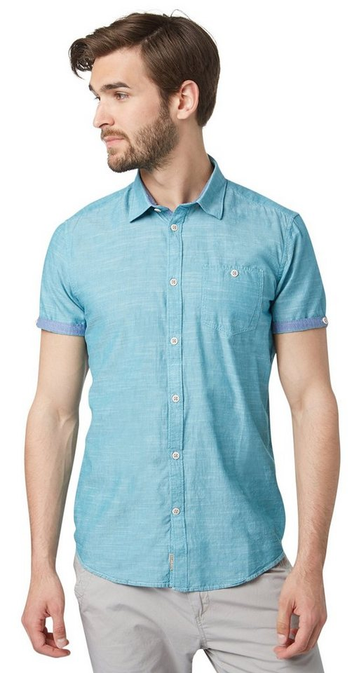 TOM TAILOR Hemd »Kurzarm-Hemd mit Streifen-Struktur« in Teal Blue