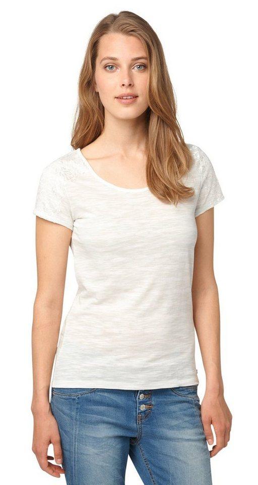 TOM TAILOR T-Shirt »Streifen-Shirt mit Spitzen-Detail« in fresh mint green