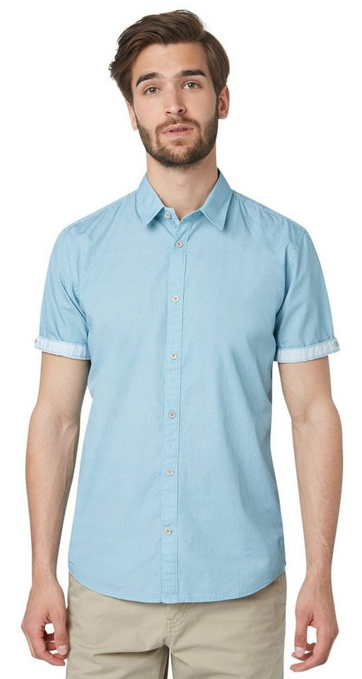 TOM TAILOR Hemd »ray summery print shirt« in Teal Blue