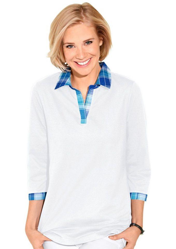 Classic Basics Shirt mit 3/4-Ärmeln in weiß